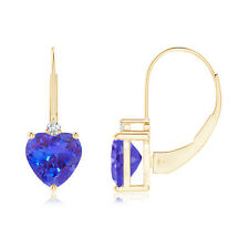 Solitaire Heart Tanzanite and Diamond Leverback Earrings in 14k Yellow Gold