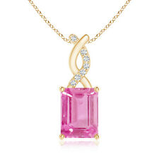 Emerald Cut Pink Sapphire Solitaire Pendant Necklacewith Diamond Entwined Bale