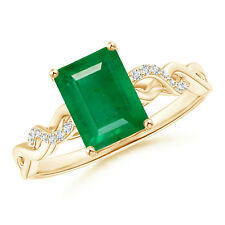 Solitaire Emerald Cut Emerald and Diamond Engagement Ring 14k Yellow Gold