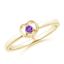 Floating Round Natural Amethyst Open Heart Promise Ring 14k Yellow Gold/ Silver