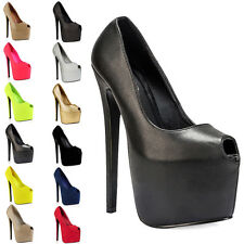 97A WOMENS PEEP TOE LADIES CONCEALED PLATFORM HIGH STILETTO HEEL SHOES SIZE 3-8