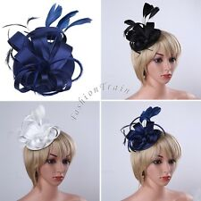 Women Fascinator Hat Feather Cocktail Party Pillbox Hat Flower Wedding Party Hat