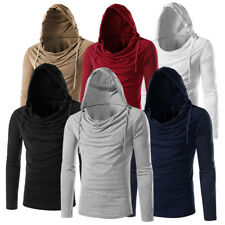 New Fashion Men Long Sleeve T-shirt Hooded Stylish Tees Solid Tops Casual Blouse