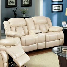 Furniture Of America Barbado Ivory Bonded Leather Match Dual Recliner Loveseat