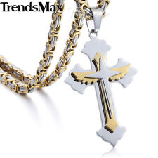 Mens Stainless Steel Silver Blue Black Gold Winged Cross Pendant Necklace