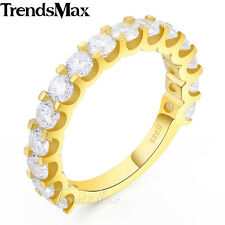 3mm Womens 925 Sterling Silver Gold Wedding Engagement US Sz 6-9 Band Ring