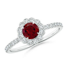 Vintage-Style Garnet Flower Ring with Diamond Accents 14K White Gold Size 3-13
