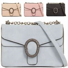Ladies Faux Leather Clutch Bag Metallic Ring Shoulder Bag Handbag Purse KT810