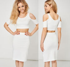 Ivory White Scuba Cold Shoulder Crop Top and Pencil Bodycon Skirt Set Sz 8-14