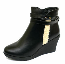 LADIES BLACK WEDGE ZIP-UP CALF COMFY SMART PLATFORM FUR ANKLE BOOTS SHOES 3-8