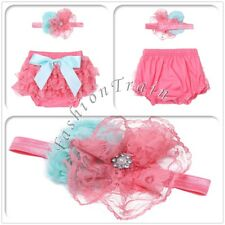 Infant Baby Girls Kids Ruffled Bloomer Flower Headband Prop Lace Diaper Covers