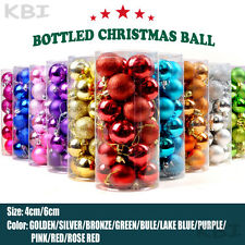 24X 40MM 60MM CHRISTMAS TREE BAUBLES XMAS DECORATION BAUBLE SHATTERPROOF GLITTER