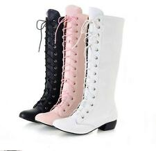 Vintage Womens zip up knight boots cosplay high top boots shoes mid block heels