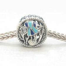 Genuine S925 Sterling Silver Ocean Life Mixed Enamel & Multi-Colored CZ Charm