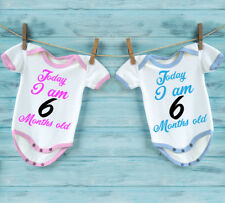 Today I am 6 Months old baby babygrow bodysuit vest. For boy or for girl.