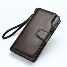 Men's Casual Leather Long Wallet Clutch Purse Bag ID Credit Card Holder Billfold