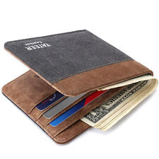 Mens Wallet Slim Bifold Canvas Short Money Clip ID Credit Card holder Coin Purse