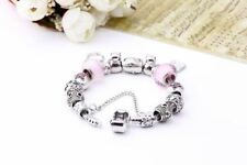 Beads Decorated Round Shape Silver Plated Charm Bracelet For Women