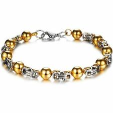 Gold Color Plated Stainless Steel Metal Link Chain Bracelet For Women & Men