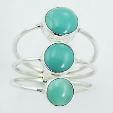 Silver stack ring 925 sterling handmade Triple Turquoise 6us 7us 8us 9us stacked