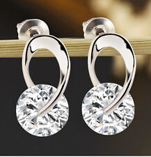 Women's Jewelry Gift Silver Plated Zircon Crystal Earring Eardrop Earbob Ear ...