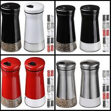 Salt and Pepper Shakers Containers Set Adjustable Holes Stainless Steel Kitchen