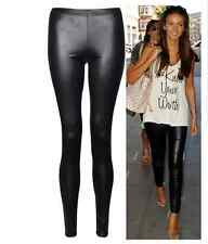 New Ladies Sexy Shiny Wet Look Black Leather Full Ankle Length Leggings