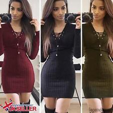 Womens Lace Up Knitted Bodycon Ladies Jumper Dress Winter Bodycon Party Dress UK