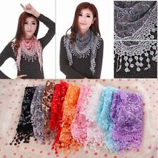 Lace Sheer Floral Print Triangle Veil Church Mantilla Scarf Shawl Wrap Tassel SV