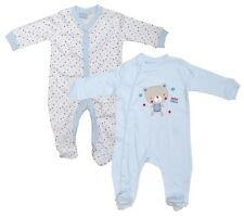 Boys Sleepsuits Blue 2 Pack Teddy Bear Friend Rompers Newborn Baby - 9 Months