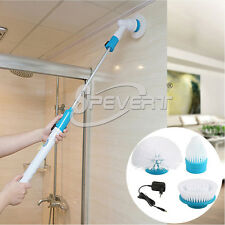 Rechargeable Turbo Scrub Electric Cleaning Brush 3 Heads House Bath Tile Floor