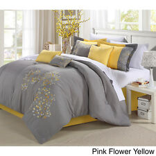 queen king 8pc gray & yellow floral motif comforter bedding sham bed skirt set