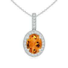 """Vintage Style Oval Citrine Pendant Necklace with Diamond 14k Gold 18"""" Chain"""
