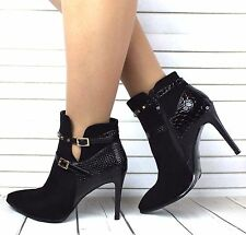 NEW LADIES BUCKLE FASHION POINTED TOE STILETTO HIGH HEEL ANKLE BOOTS SHOES SIZE