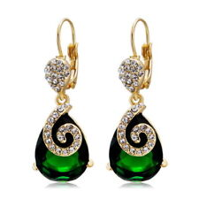 Vintage Green Emerald Dangle Earring 18K Gold Plated Swarovski Crystal Jewelry
