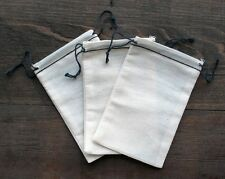 "Cotton Muslin Bags Black Hem and Black DOUBLE Drawstring – 3.25"" x 5"""