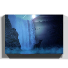 Canvas Print Various Size Wall Art Hirsch Waterfall with Stag Landscape