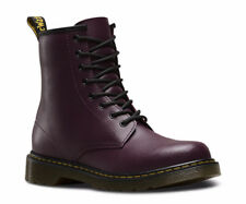 Dr Martens Delaney 8 eyelet Purple Leather Boots Lace up with side zip