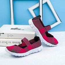 Red Color Elastic Band Closure Flat Heel Casual Shoes For Women