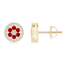 Round Natural Ruby Flower Stud Earrings with Diamond 14k Yellow Gold Screwbacks