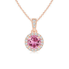 """Natural Pink Tourmaline Diamond Pendant Necklace with 18"""" Chain Rose Gold"""