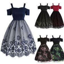 Retro Women 50s 60s Rockabilly Dress Vintage Prom Party Cocktail Housewife Dress
