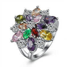 Womens 18K White Gold Plated Multi-Coloured Zircon Crystal Flower Wedding Ring
