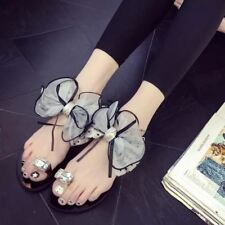 Women Crystal Decorated Ankle Strap Floral Pattern Flat Sandal