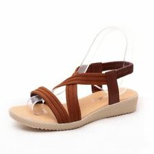Solid Brown Color Lace-Up Closure Flat with Ankle Strap Sandal For Women