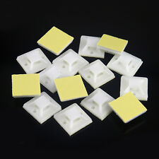 10/50/100X Self Adhesive Cable Wire Zip Tie Mounts Mounting Base Clamp Clip 20mm