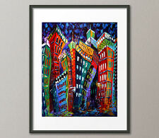 Fine Art Prints Contemporary Painting Modern CityScape Skyline Urban Abstract