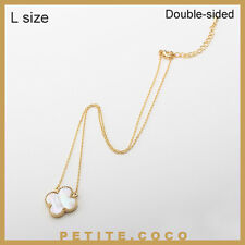 """Handmade 0.8"""" mother of pearl four leaf clover gold necklace"""