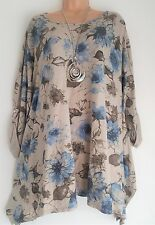 New Lagenlook Beige floral Loose Tunic Top  plus fits 20 22 24 26 54""