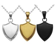 """Mens Stainless Steel Shield Pendant Ball Beads Chain 20"""" Dog Tag Necklace"""
